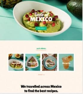 Mexican restaurant example website